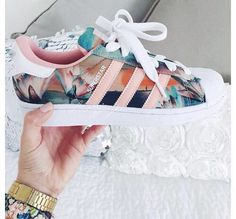 Floral Adidas Tennis Court Sneakers