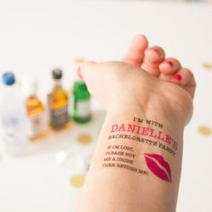 Bachelorette Temporary Tattoos,  If Lost, Buy Me a Drink, Kiss Lips, Pack of 15 Personalized Tattoos with Optional Matching Bride Tattoo