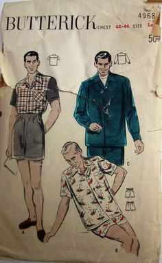 Vintage 1950s Butterick 4968 Mens Sport Shirt Boxer by Denisecraft, $15.99