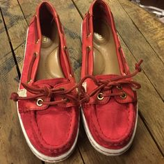 Coach red deck shoes Coach red deck shoes. Comfy for long summer walks. Great life left in them Coach Shoes