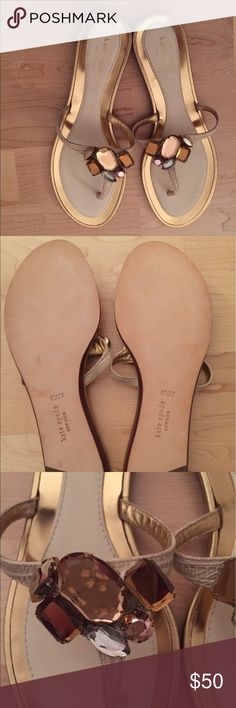 NWOT kate spade jeweled thong sandal - 8 1/2 NWOT kate spade jeweled thong sandal, size 8 1/2. These beautiful sandals would be perfect for summer!  I hate to sell these, but my shoe shelves are overflowing! kate spade Shoes Sandals