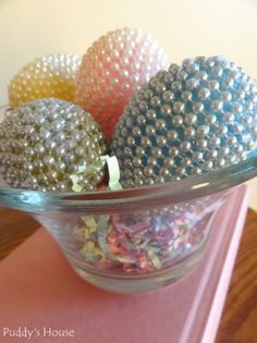 Bead covered plastic eggs - a simple craft project using beading and hot glue @DIY BOARDS