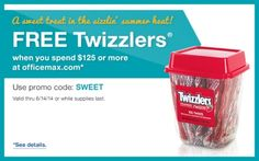 FREE Twizzlers with $125 or more with Code