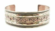 Tibetan Endless Knot Copper White Metal Brass Three Metal Filigreed Bracelet, Healing Bracelet, #8 Hinky Imports. $15.99