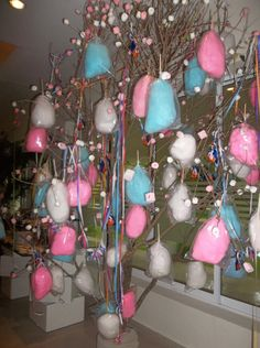 cotton candy tree- what a neat idea for your sweets table at your wedding