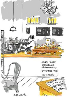 Tatte Cafe, Saint Mary's Brookline, Massachusetts,  (cafe sketch by Michael Cucurullo)