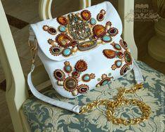 """Купить кожаная сумочка """" Солнечный берег"""" - белый, орнамент, вышивка по коже…"""
