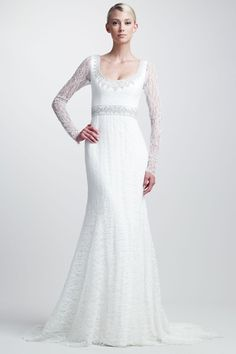 Lace wedding dress with long sleeves in style mermaid