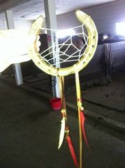 Reminds me of Bella's dream catcher! Pre-drilled holes in horseshoe makes this easier.