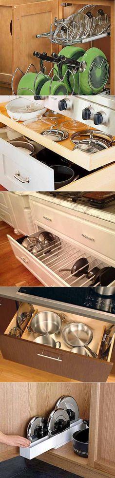 Хранение на кухне: 33 идеи для крышек и кастрюль