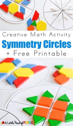 Symmetry Circles Math Activity and Free Printable: The printable included with this activity has a blank circle, 2 section circle, 4 section circle, and an 8 section circle that kids can use small manipulatives -- OR PAPER SHAPES -- to build patterns Symmetry Activities, Math Activities For Kids, Math For Kids, Math Games, Teaching Math, Kindergarten Math, Circle Math, Math Patterns, Math Art