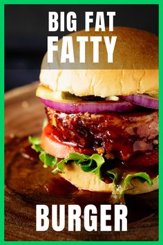 The Fatty Burger is so much more than just a burger. It is layers of cheese, bacon, jalapenos, onions, and BBQ sauce, slow smoked to tender, juicy perfection.