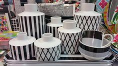 funky black & white vases from Remeber Black And White Vase, White Vases, Top Interior Designers, Gray Interior, Monochrome, Home, Monochrome Painting, Ad Home, Homes