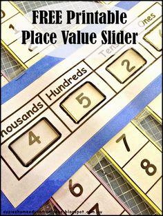 Printable Place Value Slider
