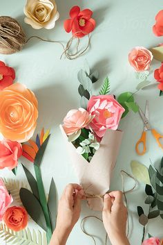 Paper flowers bouquet by Alita Ong for Stocksy United