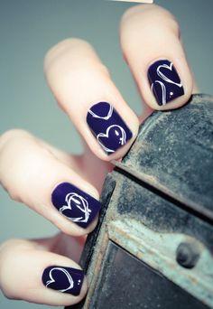 Cute Heart Blue Nails