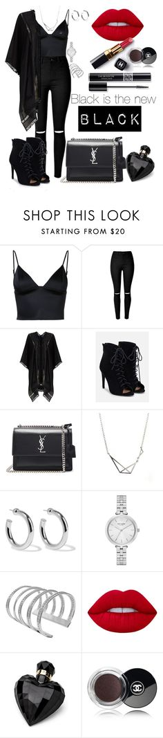 """""""Blackish"""" by saraprifti on Polyvore featuring T By Alexander Wang, Phase Eight, JustFab, Yves Saint Laurent, Sophie Buhai, Kate Spade, Lime Crime, Chanel, Lipsy and Christian Dior"""