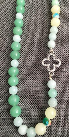 Jade colored cross necklace by FaithfulBeadsbyAsh on Etsy