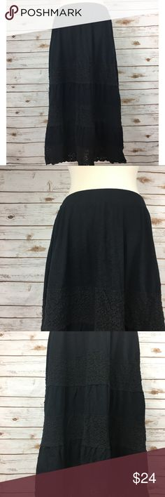 """Lane Bryant Black Layered Lace Skirt Easy breezy black layered lace skirt by Lane Bryant. • 18"""" elastic waist laid flat • 32"""" long • 20"""" long lining • In great condition  🚭 Smoke-free home 📬 Ships by next day 💲 Price negotiable  🔁 Open to trades Lane Bryant Skirts Midi"""