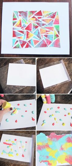 less mess finger painting (canvas crafts for toddlers) Toddler Art, Toddler Crafts, Toddler Canvas Art, Baby Crafts, Crafts For Kids, Arte Elemental, Baby Art, Preschool Art, Summer Crafts