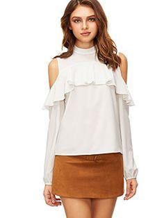 c4a80f98878 ROMWE Women's Tee shirt Cold Shoulder Keyhole Back Ruffle... https://