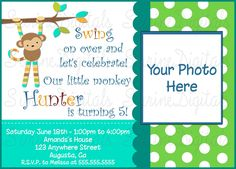Mod+Monkey+Birthday+Invitation+with+your+child's+Photo