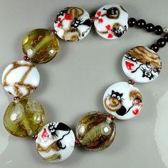 """TRIZAS-ORIGINAL  Handmade lampwork bead """"cats at christmas"""" TOS0503 SRA #TRIZASOriginal #Lampwork"""