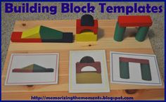 Memorizing the Moments: Block Building Templates *Awesome! Easy Busy bag using 22 blocks we already have on hand and this free pritable (which I will laminate). Block Center Preschool, Preschool Centers, Preschool Curriculum, Preschool Learning, Learning Activities, Preschool Activities, Teaching, Kindergarten Math, Block Play