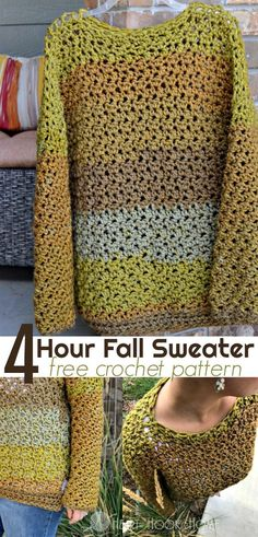Super bulky size 6. Size 15 hook. Four Hour Fall Sweater Free Crochet Pattern