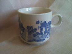 Vintage Japanese Coffee Mug Blue Pagoda Bird Trees Old Ship Boat River China