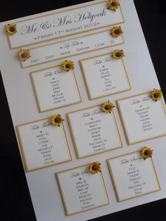 A3 Handmade Personalised Sunflower Wedding Table Seating Plan
