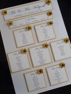 A3 Handmade Personalised Sunflower Wedding Table Seating Plan
