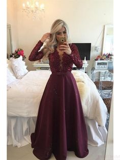 burgundy prom dresses, long sleeves prom dresses, beading evening dresses #SIMIBridal #promdresses