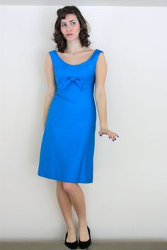 97b41921f7d Vintage Lord   Taylor 60s Structured Sleeveless Bright Teal Blue Bow Dress