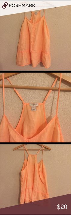J. Crew Racer Back Peplum Top Beautiful orange Blouse, in perfect like new condition. Adjustable straps, gold detailed. J. Crew Tops