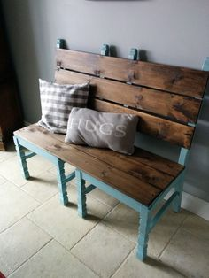 cool Two old chairs converted into a bench for extra dining room seating when needed!...