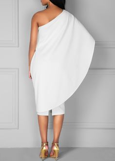 Knee Length White One Shoulder Dress on sale only US$34.90 now, buy cheap Knee Length White One Shoulder Dress at liligal.com