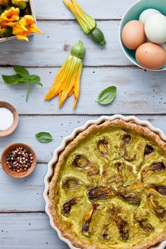 Squash Blossom Quiche With Feta And Basil; edible flowers