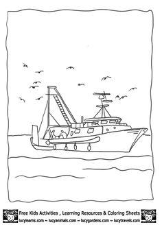 Fishing On Boat Coloring Sheet 1 Gif 603 215 848