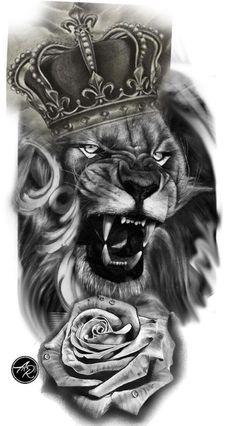 Lion tattoos hold different meanings. Lions are known to be proud and courageous creatures. So if you feel that you carry those same qualities in you, a lion tattoo would be an excellent match Lion Tattoo Sleeves, Best Sleeve Tattoos, Tattoo Sleeve Designs, Tiger Tattoo Sleeve, Realistic Tattoo Sleeve, Lion Tattoo With Crown, Lion Head Tattoos, Lion And Rose Tattoo, Tattoos Skull