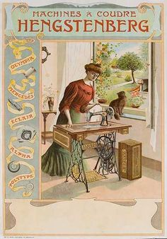 Hengstenberg Sewing Machine Vintage Advertising Poster, c. 1910