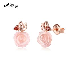 Check lastest price MoBuy MBEI015 Cute Flower Cut Natural Gemstone Rose Quartz Stud Earrings 925 Sterling Silver Gold Plated Fine Jewelry For Women just only $25.82 with free shipping worldwide  #finejewelry Plese click on picture to see our special price for you