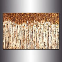 Contemporary Textured Metallic landscape Abstract Trees Painting Palette knife Modern Art By Henry Parsinia - New Wave Art Gallery