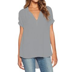 Black T Shirt Women V Neck Oversize Chiffon Top Casual Plus Size T Shirt Women Shirts 2017 T-shirt Female Summer Solid Color Top