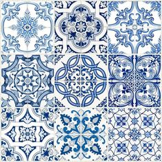 Tile Stickers Vinyl Decal Waterproof Removable: B - Murales Pared Exterior Tile Decals, Vinyl Decals, Wall Stickers, White Tile Backsplash, Tuile, Blue Tiles, Blue Mosaic Tile, Spanish Tile, Waterproof Stickers