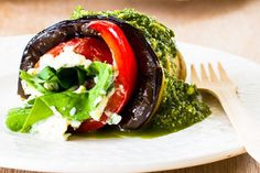 Creamy blue cheese eggplant rolls recipe, NZ Womans Weekly – Grilled summer vegetables filled with a little cheese and topped with a vibrant pesto ampndash a delicious and healthy take on the Mediterranean diet - Eat Well (formerly Bite) Eggplant Rolls, Daily Meals, Rolls Recipe, Blue Cheese, Lunches And Dinners, Grain Free, Entrees, Vegetarian Recipes, Starters