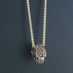 Day of the Dead Necklace Bronze Sugar Skull Pendant by LostApostle, $55.00