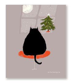 Waitin' Up  Christmas Cat Card  Black Cat by jamieshelman on Etsy