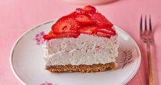Cukormentes, sütés nélküli epres túrótorta recept   Street Kitchen Cake Cookies, Tofu, Vanilla Cake, Cheesecake, Pie, Sweets, Cakes, Torte, Cake