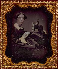 Occupational portrait of a woman working at a sewing machine] sixth plate daguerreotype, ca. 1853.